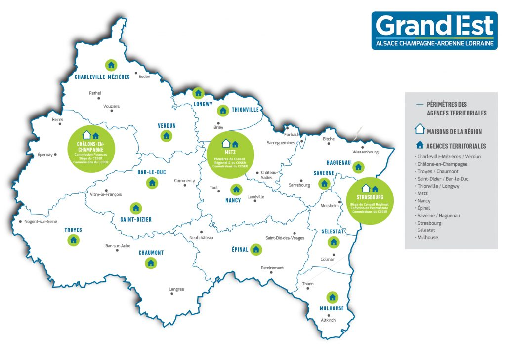 Carte des agences territoriales du Grand Est