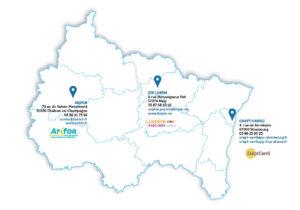 Carte des CARIF du Grand Est (Centre Animation Ressources d'Information sur la Formation)