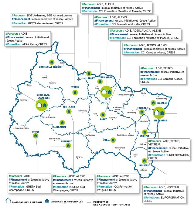 Carte des opérateurs accompagnant les créateurs / repreneurs d'entreprises