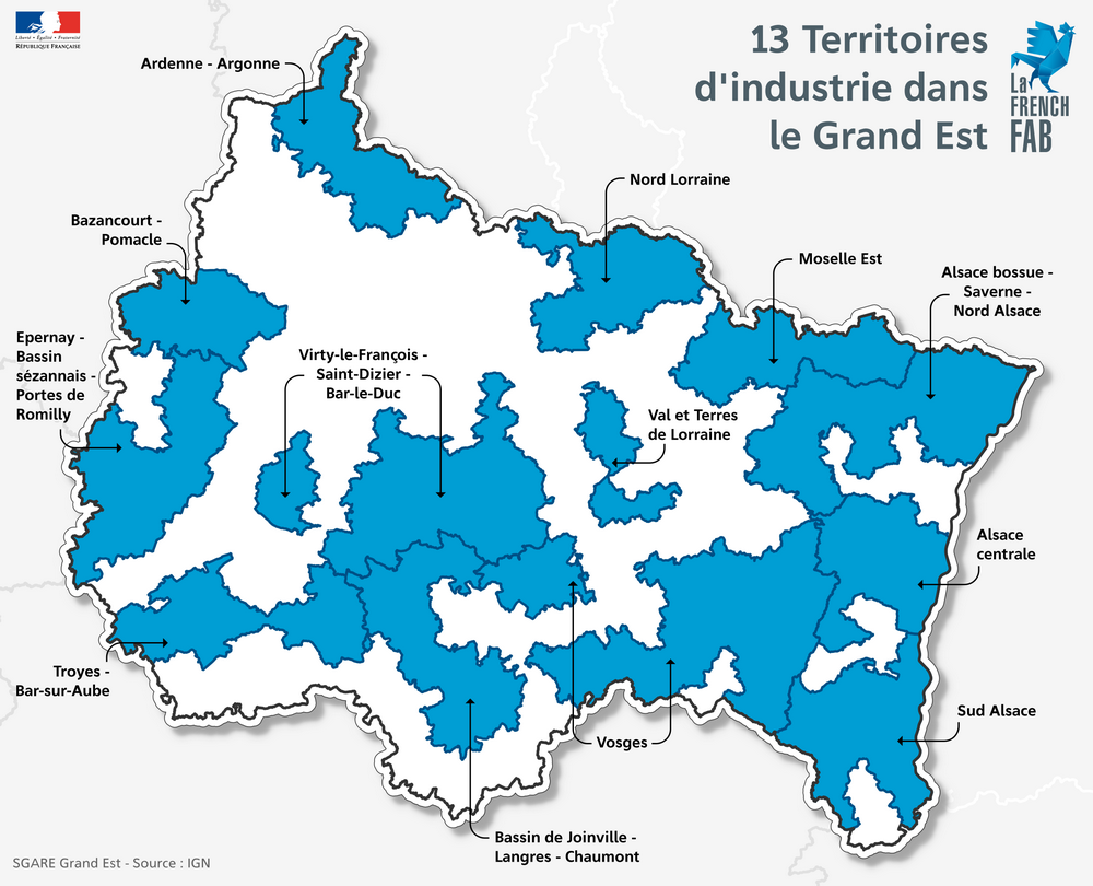 Carte des 13 territoires d'industrie retenus dans le Grand Est